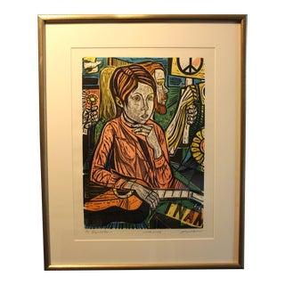 "1970s Vintage Irving Amen ""Symbols"" Artist Proof Original Woodcut Print For Sale"