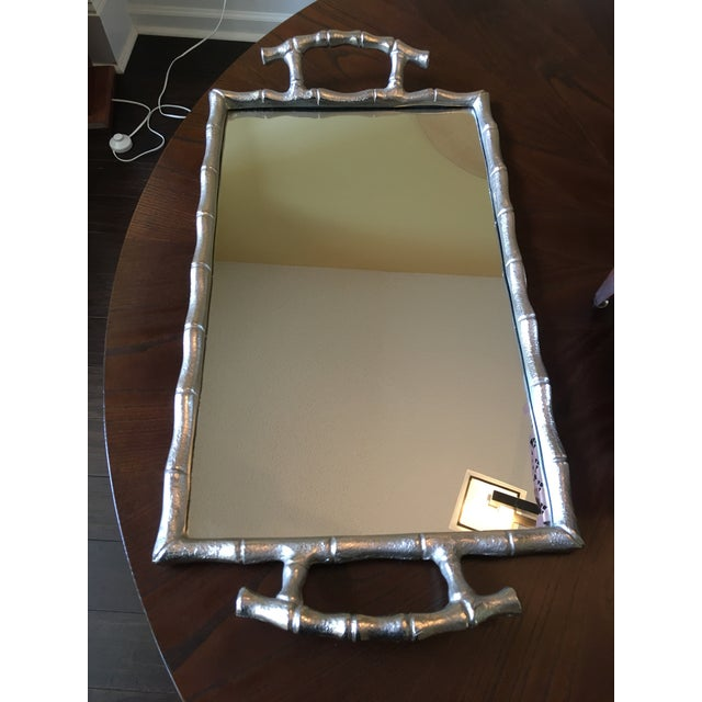 Silver Asian Modern Silver Bamboo Mirrored Tray With Handles For Sale - Image 8 of 9