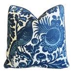 "Scalamandré Blue & White Spoleto Bird & Floral Feather/Down Pillow 22"" Square"