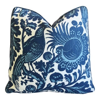 "Scalamandré Blue & White Spoleto Bird & Floral Feather/Down Pillow 22"" Square For Sale"