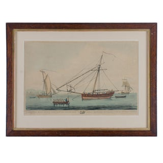 Early 19th Century Antique A Bermudian Sloop Serres's Liber Nauticus Aquatint Engraving For Sale