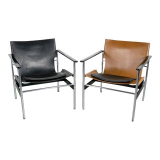 Knoll No. 657 Sling Chairs in Cognac Leather, 1 Available For Sale