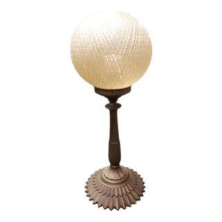 Mid Century Fiberglass Spun Spaghetti Shade Gilded Metal Base Table Lamp For Sale