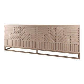 Stria Credenza - Brushed Brass Base, Natural Cerused Oak For Sale