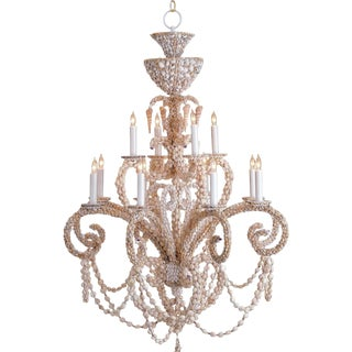 Monumental Grotto Style 12 Light Sea Shell Encrusted Huge Coastal Chandelier Light For Sale