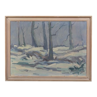 Shades of Blue Impressionist Winter Forest Landscape For Sale