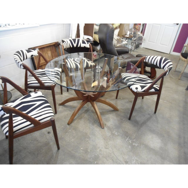 Danish Modern Glass Table & 4 Chairs - Image 3 of 8