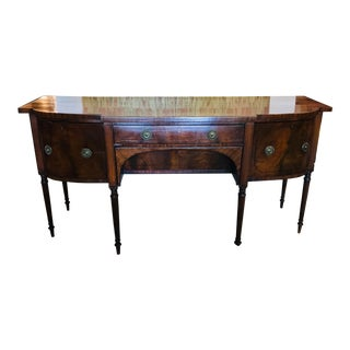 Antique Sideboard Server With Column Legs and Brass Hardware For Sale