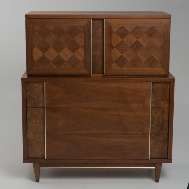 "Vintage Witz ""The Basic Line"" Furniture Mid Century Marquetry Burl Walnut Brass Dresser 1960s For Sale - Image 11 of 12"
