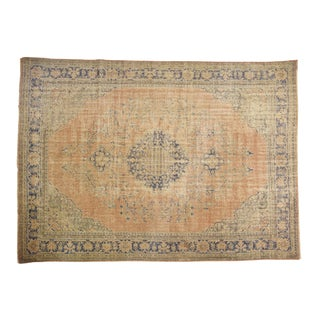 "Vintage Distressed Oushak Carpet - 8'2"" X 11'3"" For Sale"