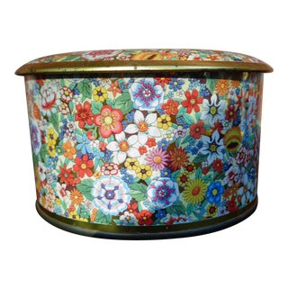 1960's Floral Tin Box For Sale
