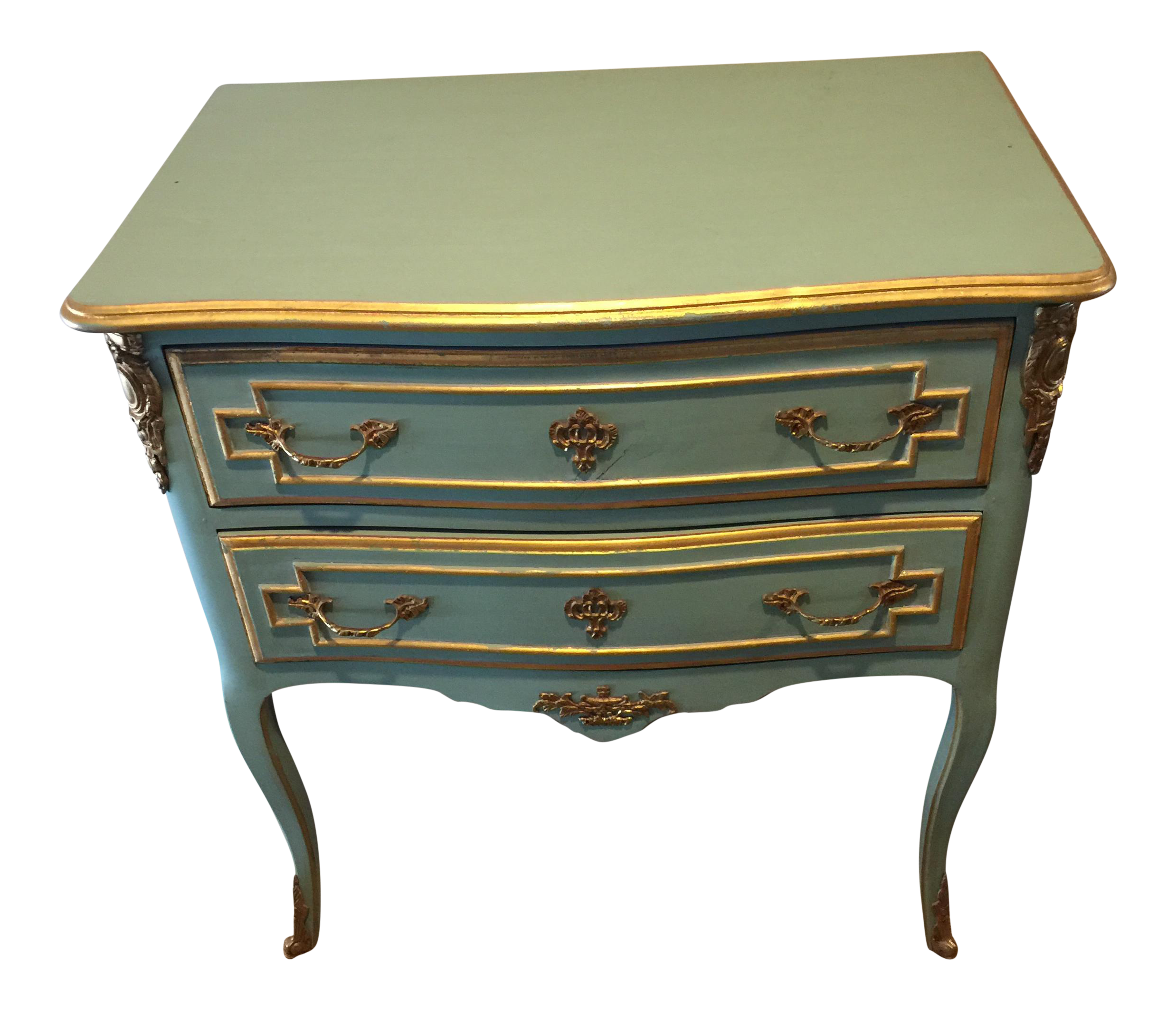 Antique French Louis Tiffany Blue Painted Nightstand