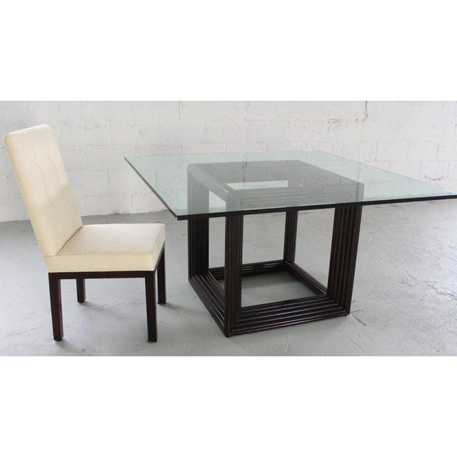 1970s Large Square Thick Glass Top Rattan Cube Base Dining Conference Table For Sale - Image 5 of 13