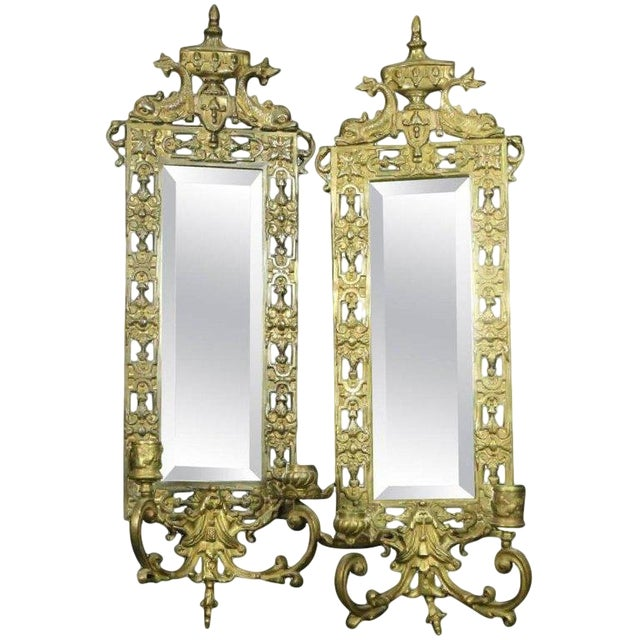Late 19th Century Vintage Neoclassical Brass & Mirror Candle Wall Sconces- A Pair For Sale