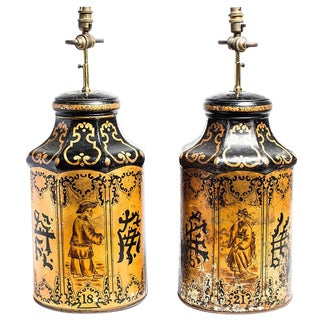Chinese Tea Tin Lamps - a Pair For Sale