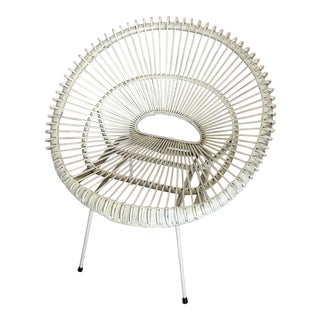 1950's Boho Chic Franco Albini Rattan Shell Chair For Sale