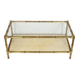 Mid-Century Modern Brass Bamboo Parchment and Glass Coffee Table For Sale