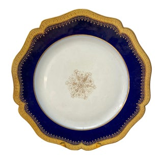 Early 20th Century Limoges Cobalt and Gold Dinner Plates - Set of 12 For Sale