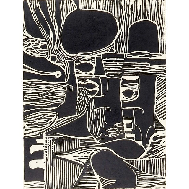 Abstract Black & White Abstract Block Print For Sale - Image 3 of 3