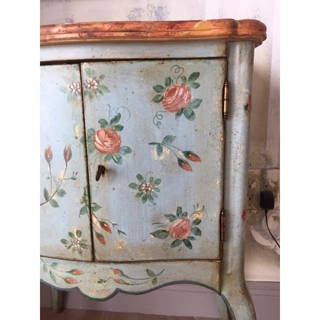 Wood Vintage Comodino Rustic Floral Side Table For Sale - Image 7 of 10