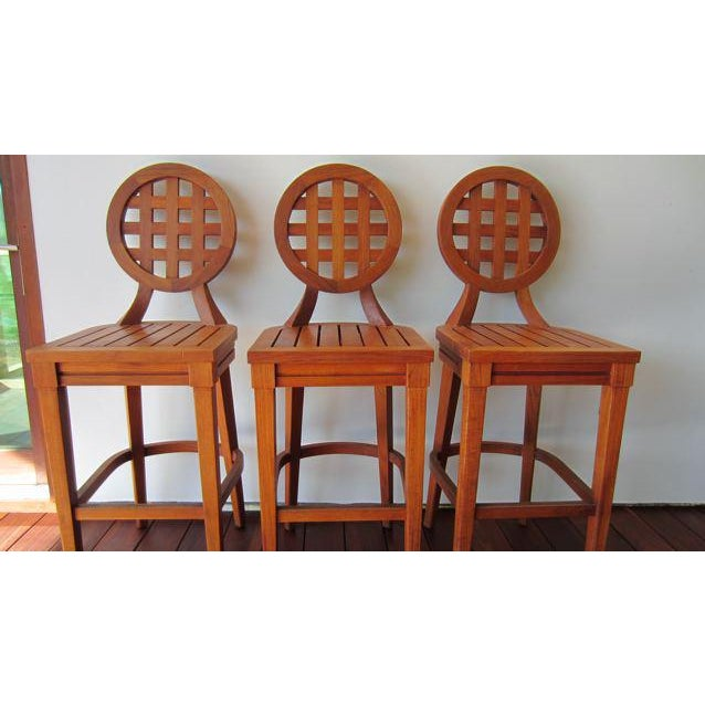McGuire Orlando Diaz-Azcuy Portico Solid Teak Barstools - Set of 3 - Image 6 of 9