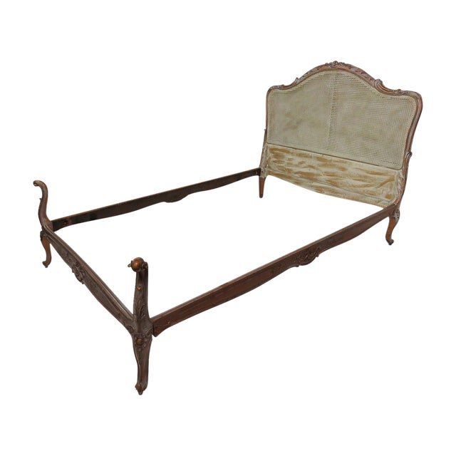 French Louis XV Style Twin Carved Caned Back Bed - Image 1 of 6