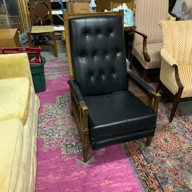 1970s Italian Provincial Burris Black Naugahyde and Caned Arm Recliner For Sale - Image 12 of 12