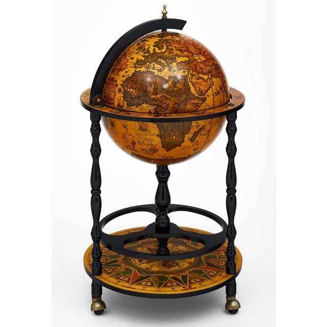 Brown Italian Vintage Globe Bar Cart For Sale - Image 8 of 10
