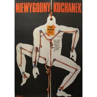 1973 Retro Polish Film Poster, Skeleton on String For Sale