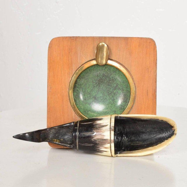 Gold Richard Rohac Horn Pipe Holder-Stand With Brass Ashtray, Austria, 1950s For Sale - Image 8 of 8