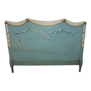1950's Italian Hand Painted Wood Headboard With Swags For Sale