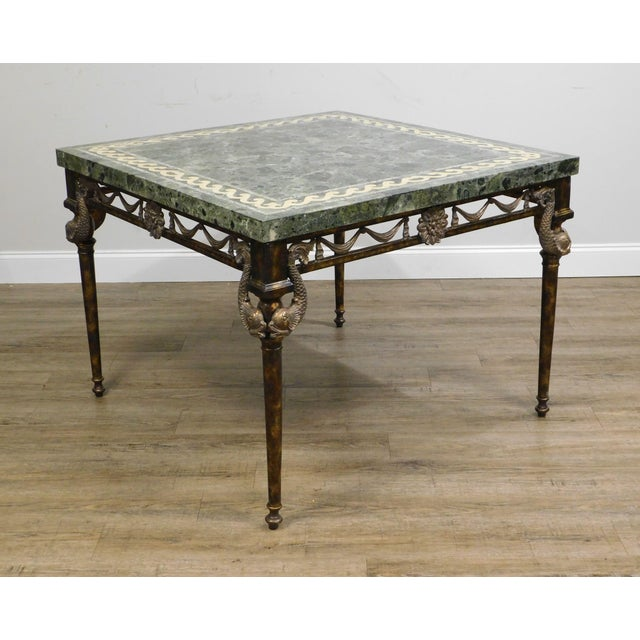 High Quality Square Inlaid Tessellated Marble Top Faux Painted Iron and Bronze Base Table with Dolphin Accents by Maitland...