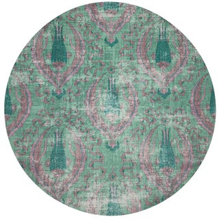 "Nicolette Mayer Byzantine Jewel Green 16"" Round Pebble Placemat, Set of 4 For Sale"