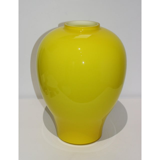 "Yellow Vetri Murano Glass Vase 17"" 1970s For Sale - Image 13 of 13"
