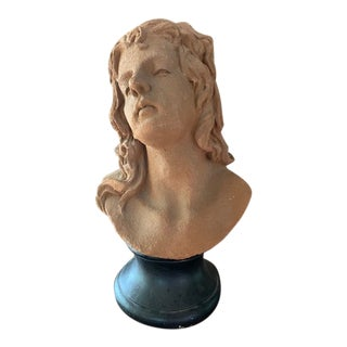 Bust of Young Woman on Wood Base For Sale