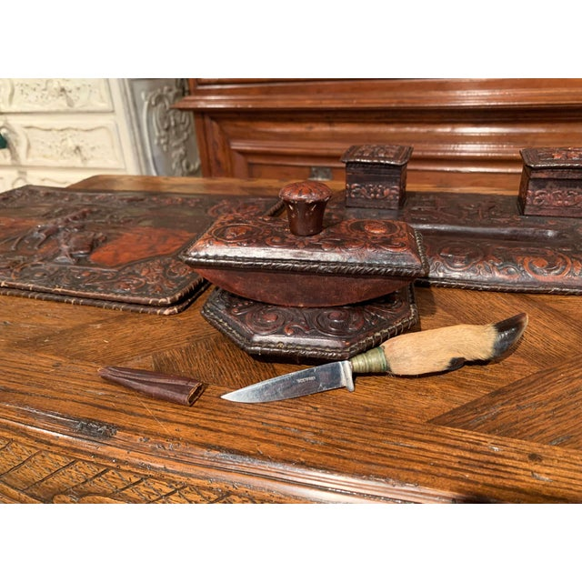 19th Century French Gothic Embossed Leather Five-Piece Desk Set For Sale - Image 10 of 13