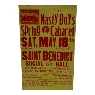 """""""The Nasty Boys - Spring Cabaret"""" Concert Poster, 1980"""
