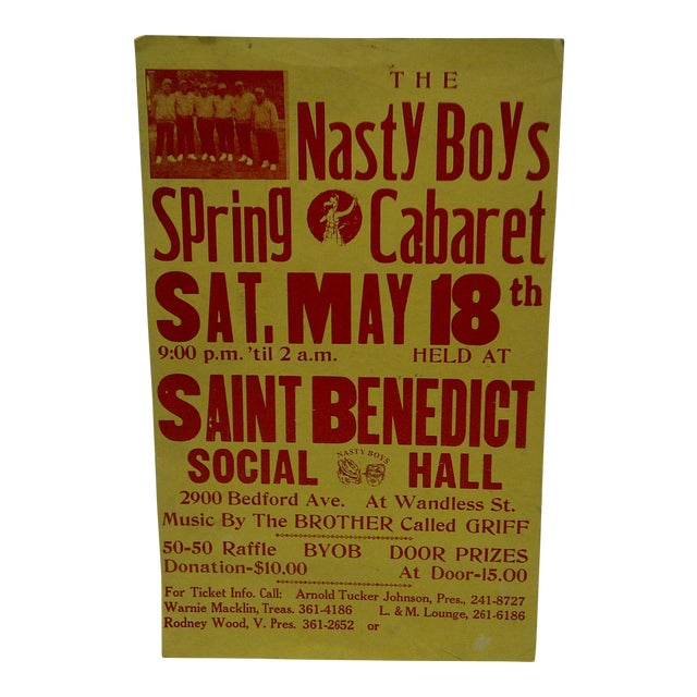 """The Nasty Boys - Spring Cabaret"" Concert Poster, 1980 For Sale"