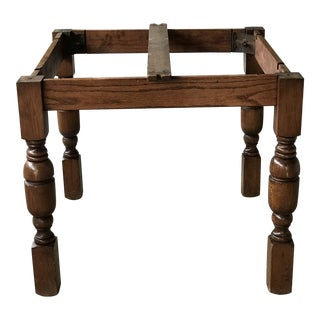 Antique Solid Wood Square Dining Table Base For Sale