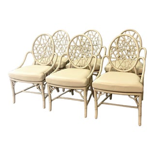 Vintage Coastal Rattan Web Back Dining Chairs - Set of 6 For Sale