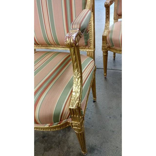19th Century French Louis XVI Gilt Wood Fauteuils Chairs-A pair pair of beautiful French Giltwood Fauteuil Chairs with...