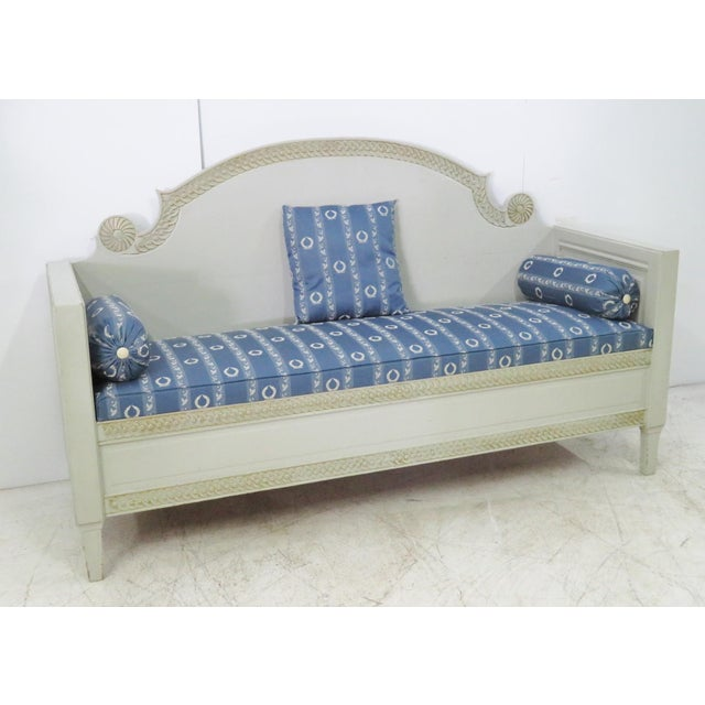 Shabby Chic Swedish Gray Carved Sofa For Sale - Image 10 of 10