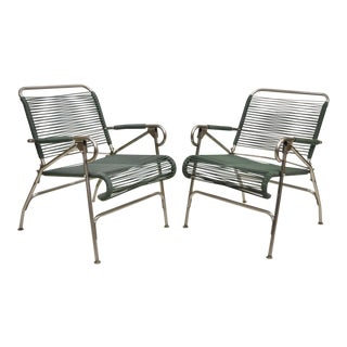 1950s Vintage Surfline Vinyl Strap Metal Folding Chairs - A Pair For Sale