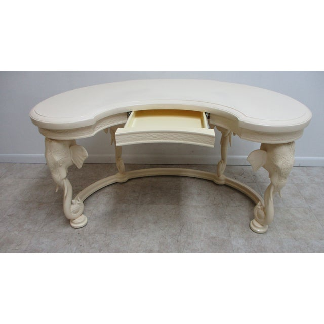 White Vintage French Regency Gampel Stoll Fretwork Elephant Writing Desk For Sale - Image 8 of 13