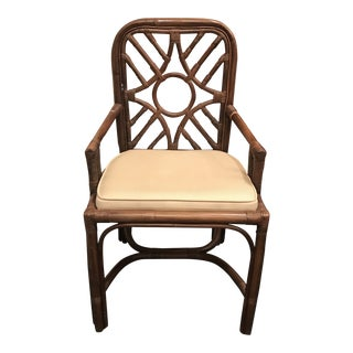 1950s Vintage Boho Bamboo Arm Chair For Sale
