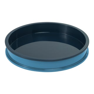 Jeffrey Bilhuber Collection Small Circular Tray in Teal / Horizon Blue For Sale