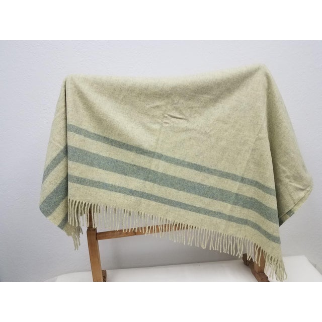 Merino Wool Throw Light Green With Darker Green Stripes - Made in England For Sale - Image 4 of 8