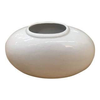 Vintage Mid Century Haeger Oval Shaped White Vase For Sale