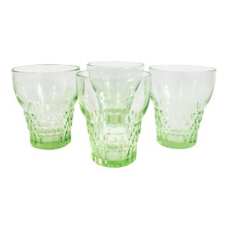 Vintage Pale Green Depression Glass Tumblers - Set of 4