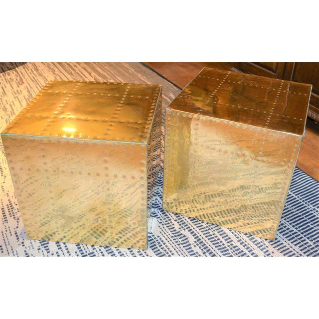 Contemporary Sarreid Ltd. Brass Cube Side Tables - a Pair For Sale - Image 3 of 10